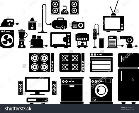 vintage home appliances icons stock vector illustration home appliances icons stock vector illustration 97035293