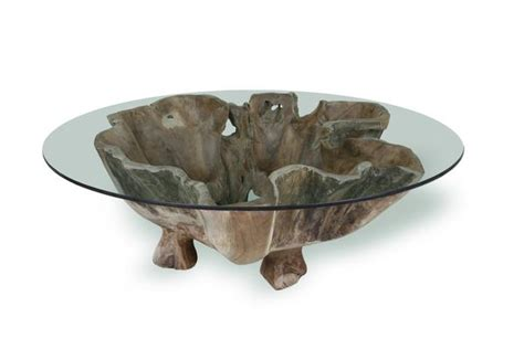 natural teak root coffee table   glass top