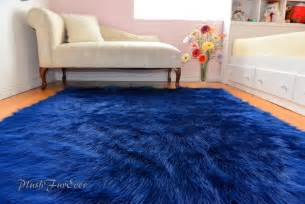 Area Rugs For Baby Boy Nursery Navy Blue Shaggy Sheepskin Flokati Area Rug Baby Boy Throws Rugs Nursery Decors Ebay