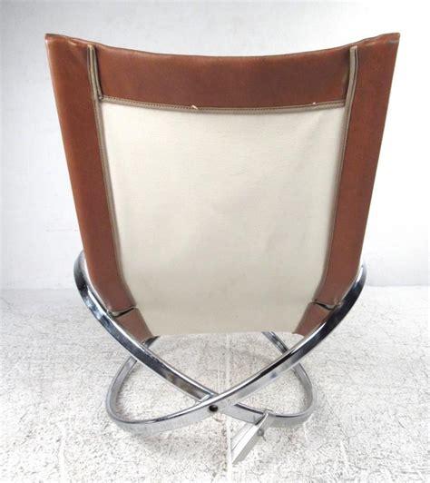 unique mid century modernist chrome and vinyl chaise