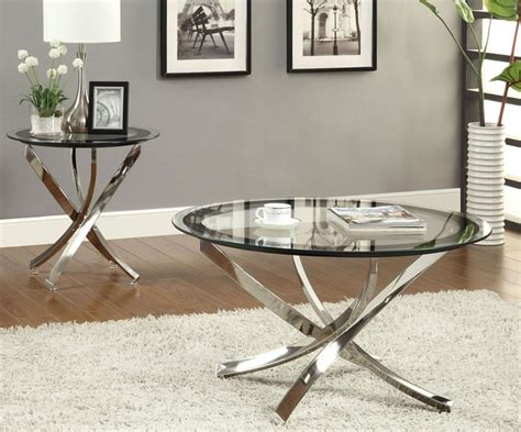 glass side tables for a modern living room 2015 trends amazing coffee table with using round metal coffee