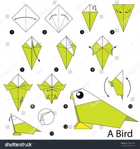 Origami How To Make A Bird - step by step how make stock vector 339563294