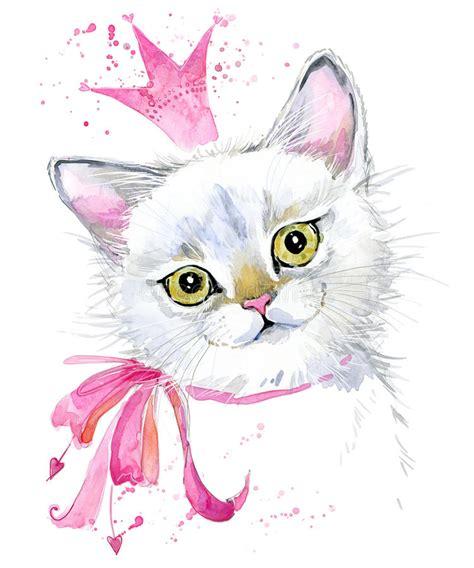 Cat. Cute Cat. Watercolor Cat Illustration. Stock