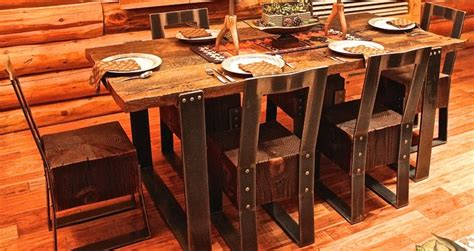 Wood And Steel Furniture by Reclaimed Wood Steel Furniture Rustic Dining Sets