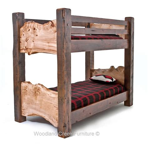 Rustic Bunk Bed Barn Wood Natural Live Edge Wood Bunk Beds