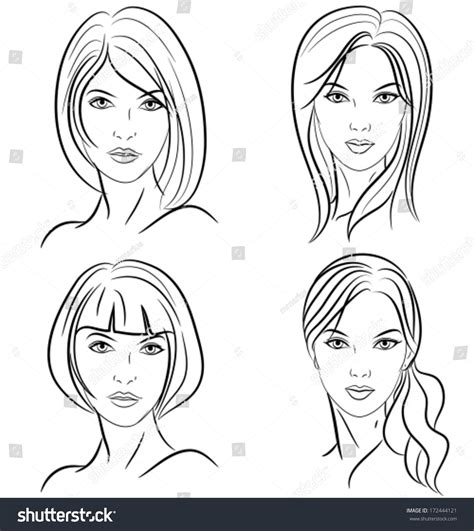 hairstyles women front view black stock vector