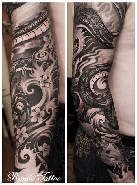full sleeve tattoos black and grey designs black and grey sleeve tattoo tattoos pinterest