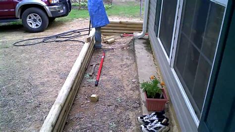 How To Install Landscape Timbers Landscape Timber Installation Progress Part 1