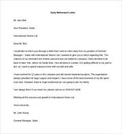Letters Of Resignation For Retirement by Retirement Letter Templates 32 Free Sle Exle Format Free Premium Templates