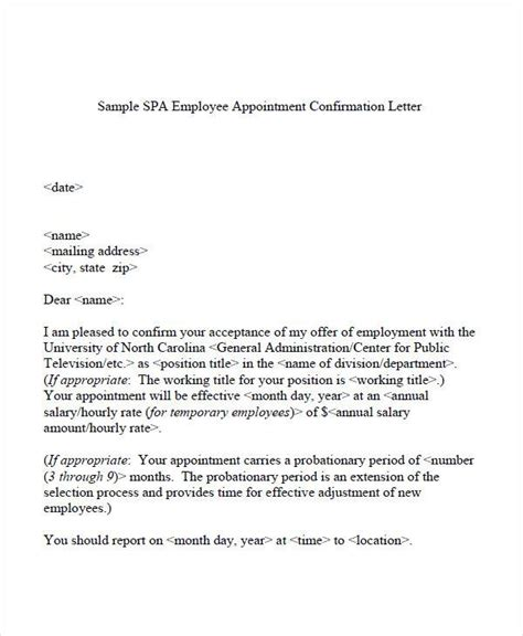 Confirmation Letter For Staff 51 Sle Appointment Letters