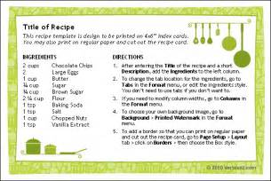 cookbook index template free printable recipe card template for word