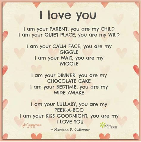 parent poem i you i am your parent you are my child i am your