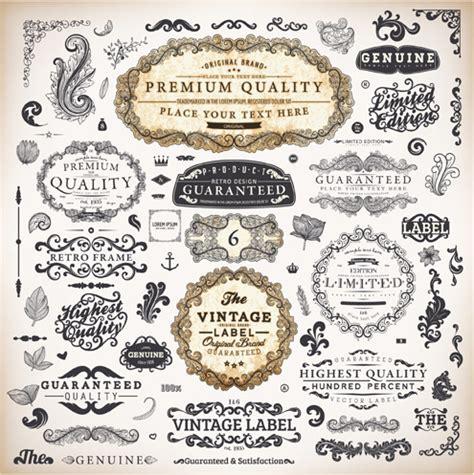 design vintage label vintage label and ornaments design vector set free vector