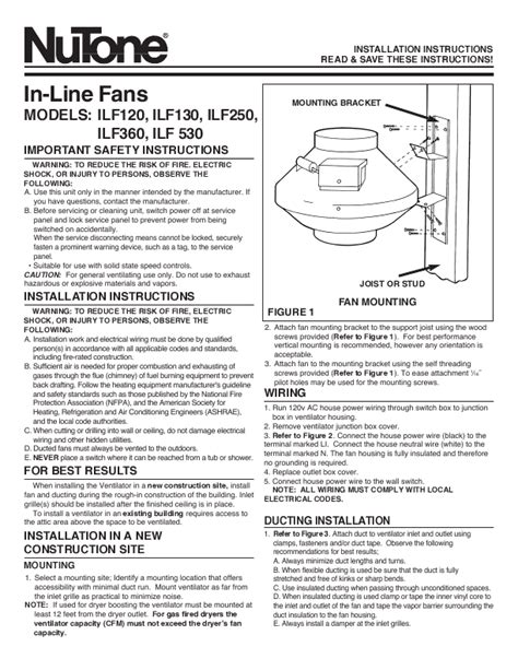 nutone bathroom fan manual nutone fan ilf120 user s guide manualsonline com