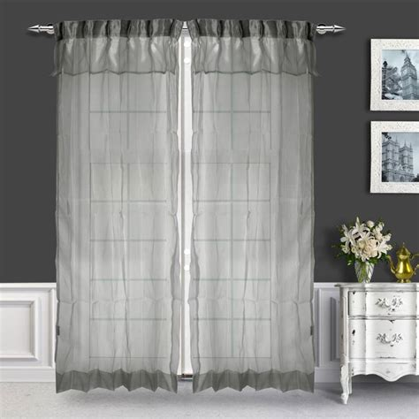 Silver Sheer Curtains Buy Just Linen Pair Of Two Tone Silver Pleated Sheer Curtains With Skirt