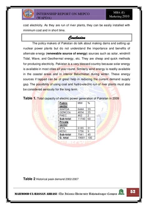 Mepco Mba Fees by Intrnship Report On Wapda
