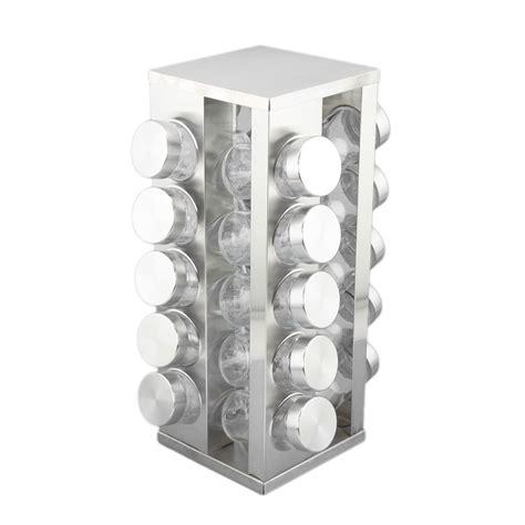 Empty Spice Rack Revolving Square Revolving Stainless Steel Spice Tower Rack Carousel