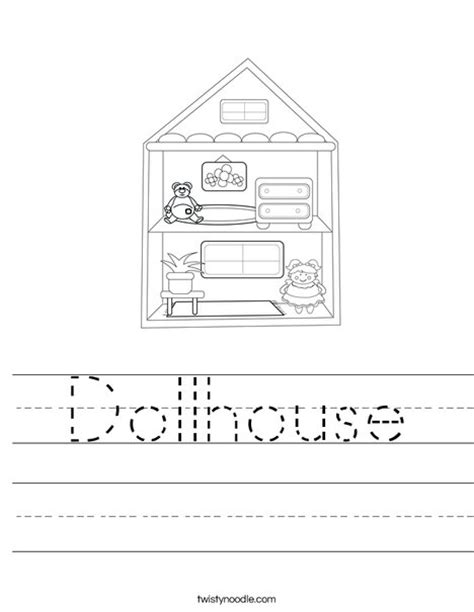 coloring pages of a doll house dollhouse worksheet twisty noodle