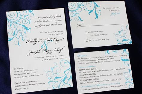Wedding Bible Verses For And Groom by Turquoise Blue Leafy Swirl Wedding Invitations With