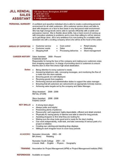 Shop Assistant Sle Resume by Sales Assistant Cv Exle Shop Store Resume Retail Curriculum Vitae