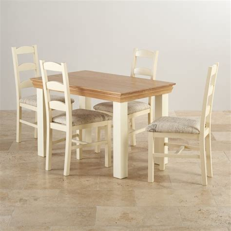 Painted Oak Dining Table And Chairs Country Cottage Dining Set In Painted Oak 4ft Table 4 Chairs