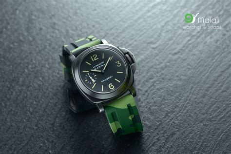 Panerai Black Camouflage Rubber for panerai horus green camouflage rubber straps with pvd buckle