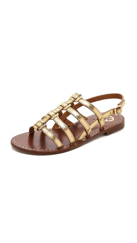 Flast Shoes Sandal Wanita Mg30 lyst burch reggie flat sandals gold in metallic