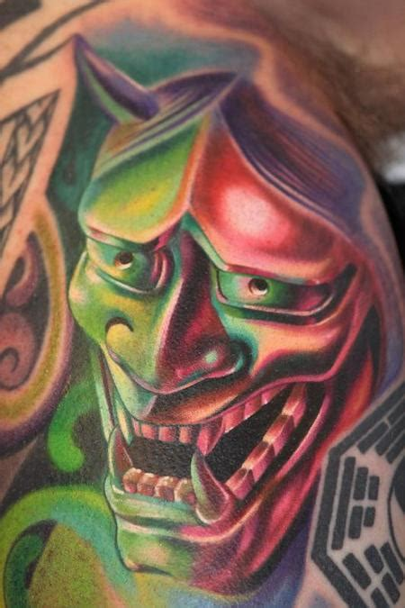 Green Hannya Mask Tattoo | green hannya mask tattoo design real photo pictures