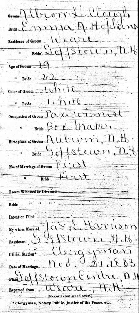 New Hshire Marriage Records Spotlight Albion Clough World S Chion Hater