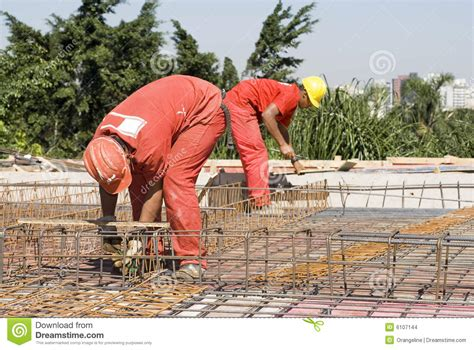 Rebar Worker by Construction Workers Install Rebar Stock Images Image 6107144