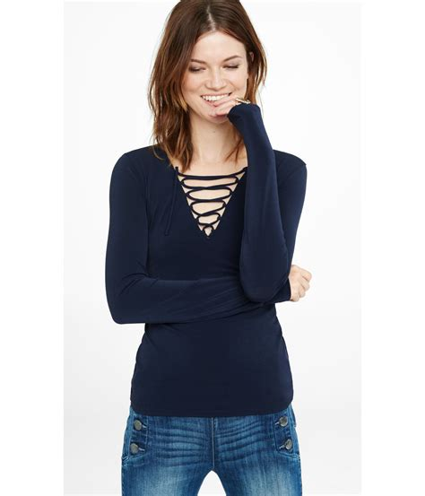 Up Front lyst express sleeve lace up front shirt in blue
