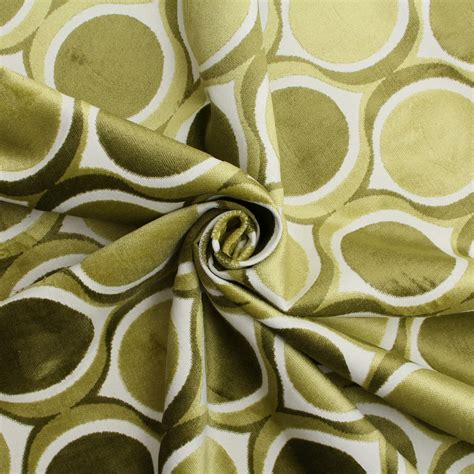 Funky Upholstery Fabric by Designer Dfs Cut Velvet Large Retro Vintage Circle Spots