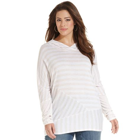 striped hooded blouse dkny plus size longsleeve striped hooded top in white lyst