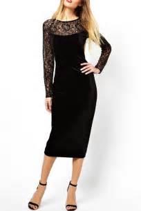 Black lace long sleeve slit back midi dress long sleeve dresses long