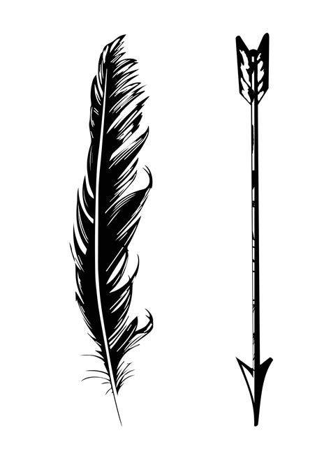 white feather tattoo designs black and white arrow with feather design tattoos