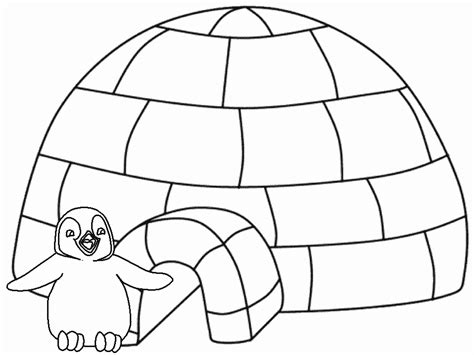 winter coloring pages penguin igloo coloringstar