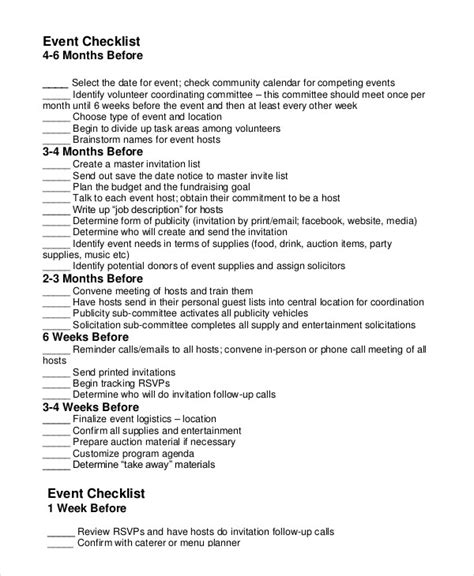 fundraising event planning checklist template event planning checklist 11 free word pdf documents