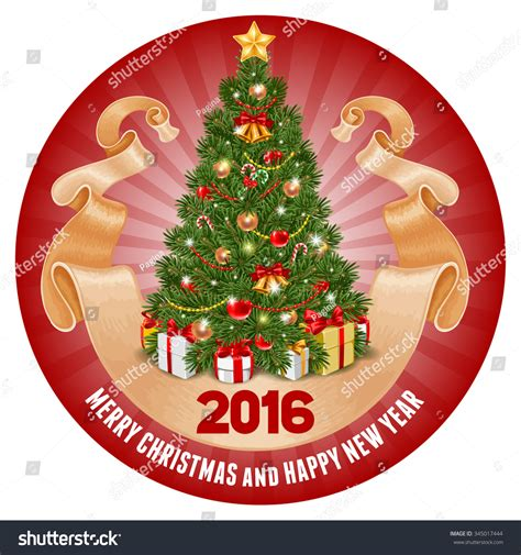 circle overlay with fluffy christmas tree decorated by