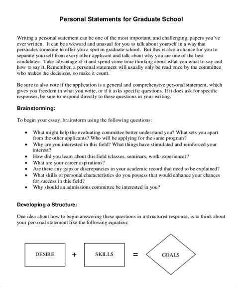 graduate school personal statement sle essays writing letter of purpose graduate school 20