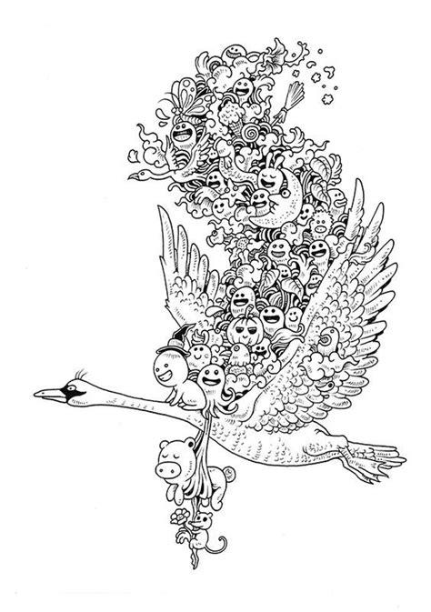 doodle invasion coloring book  kerby rosanes