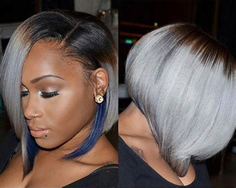 black hair with grey streaks on black women 50 short hairstyles for black women blue highlights