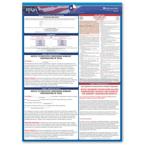 section 60 workers compensation act texas state labor law poster