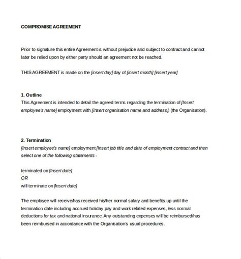 settlement agreement template uk settlement agreement template 13 free word pdf document