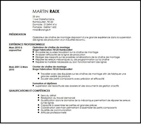 Lettre De Motivation De Operateur De Production Cv Operateur De Chaine De Montage Exemple Cv Operateur