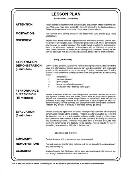 template for a lesson plan 7 sle lesson plan format bookletemplate org