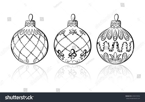 vector sketch three christmas balls on stock vector