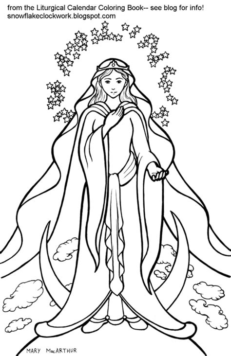 snowflake clockwork solemnity of mary coloring page