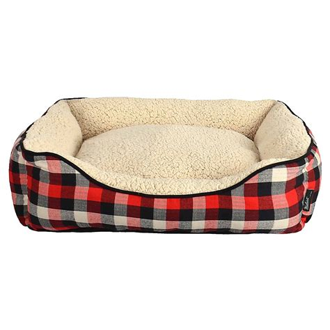 plaid dog bed woolrich buffalo plaid cuddler dog bed 28x23
