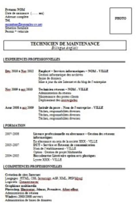 Exemple De Lettre De Présentation Cv étudiant Resume Format Mod 232 Le Cv Technicien De Maintenance