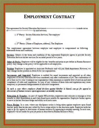 free employee contract template free word templates part 2